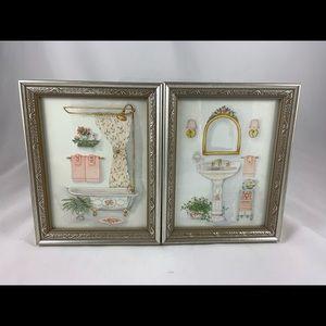 2 pc pink floral bathroom art picture frames